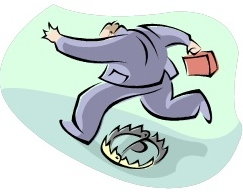 Businessman leaping over a risk trap
